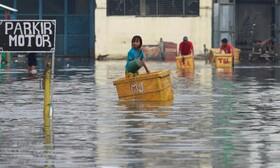 (تصاویر) جاری شدن سیل در جاکارتای اندونزی