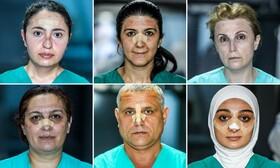 (تصاویر)تصاویری از چهره کارکنان بهداشتی در باکو در جمهوری آذربایجان