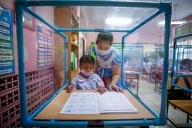 (تصاویر) بازگشایی مدارس در تایلند با رعایت فاصله فیزیکی
