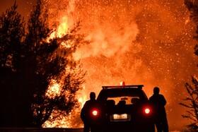 (تصاویر) آتش سوزی در منطقه ای در یونان