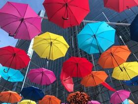 (تصاویر) چترهای رنگارنگ در خیابانی در سانیانگ در چین
