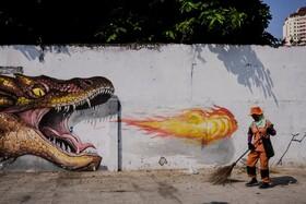 (تصاویر) نقاشی دیواری در  خیابانی در جاکارتا اندونزی