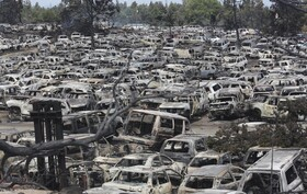 خودروهای سوخته در آتش سوزی در آمریکا