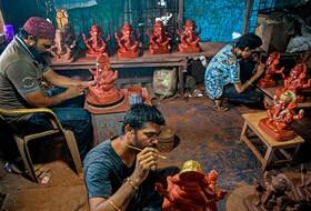 کارگاه مجسمه سازی در بمبئی هند