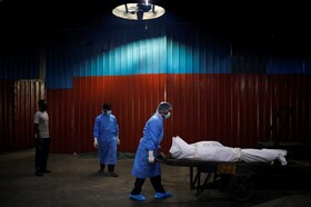 انتقال کشته شدگان از بیماری کرونا در دهلی هند