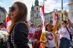 تظاهرات اتباع بلاروس در ورشو لهستان