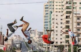تمرین پارکورکار های فلسطینی در غزه در جریان قرنطینه
