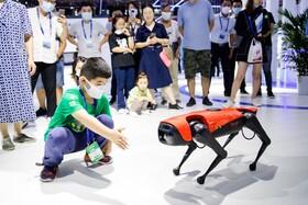 کودکی در نمایشگاه نرم افزار  نانجینگ با یک روبات بازی می کند